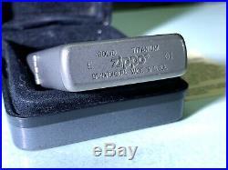 110 Solid Titanium Zippo Lighter Rare 2001 Original Box & Paperwork Edc