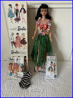 1962 Vintage Brunette #4 Ponytail Barbie In Original Box With Rare #l605 Outfit