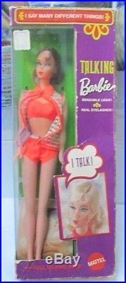 1969 TALKING BARBIE in ORIGINAL BOXVERY RARE#1115WRIST TAG+OSSNO PULL RING