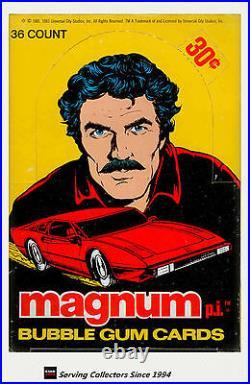 1983 Magnum P. I. Bubble Gum Trading Cards Wax Box (36 Packs) Rare