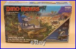 1988 vintage Tyco Dino Riders DIMETRODON with figure complete in original BOX Rare