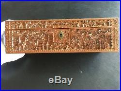 19th Century Rare Large China Chinese Canton Hand Carved Sandalwood Box