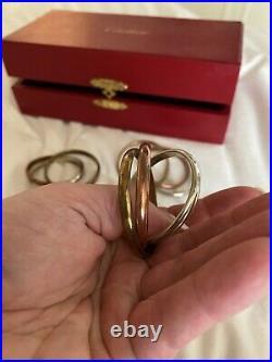 4 Cartier HUGE RARE Vintage Trinity Napkin rings In Original Box
