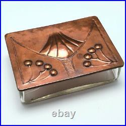 A Rare Copper Lidded Signed Art Nouveau WMF Glass Cigar Box c1920