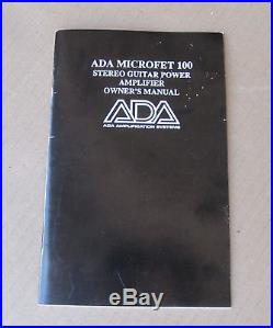 ADA Microfet 100 Watt Stereo Guitar Power Amp In Original Box CLEAN & RARE