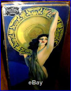 ANTIQUE CANDY BOX withROLF ARMSTRONG's ENCHANTRESS LITHO ON LID! EXCEEDINGLY RARE