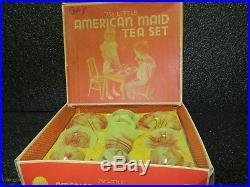 Akro Agate Lemonade & Oxblood Octagonal Child's Tea Set /VERY RARE Original Box