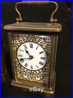 Antique French Timepiece Carriage Clock Original Leather Carry Box Rare Working