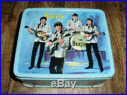 Beatles 1965 Original Lunch Box & Thermos In Custom Plexiglass Display Case Rare