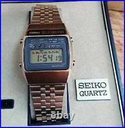 Beautiful Rare Seiko A159-5009 Lcd Chronograph Watch Original Boxes Instructions