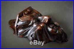 French Rare Antique Carved Wood Figural Mascaron Wall Salt Box Folk Art