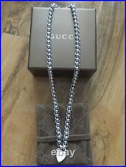 Genuine Gucci Sterling Silver Heart necklace in original box Very Rare