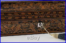 Georgian Regency Rare Penwork Mask Head Lacquer Box Inscribed Name & Location