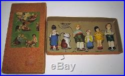 Germany Our Gang Bisque Nodders Figurines Set of 6 NM/Mint in Original Box RARE