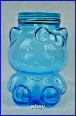 Hello Kitty Vintage Blue Glass Jar Canister Rare Only from Japan Original box