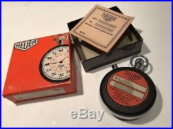 Heuer 7 Jewel Stop Watch Rare Vintage With Original Box And Papers 7j