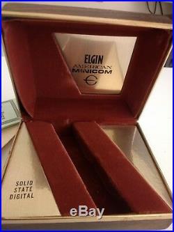 LED LCD 1970s ELGIN American URANUS Minicom Digital. Original. RARE + Box + Papers