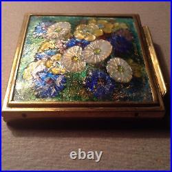 LIMOGES ENAMELED BRONZE BOX CAMILLE FAURE RARE FRENCH ART DECO POWDER circa 1940