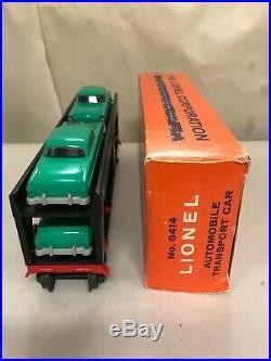 Lionel Postwar 6414 Autoloader With Rare Original Kelly Green Cars & Box Unrun