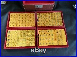 Mahjong Vintage Bakelite Set Rare Blue Wafer Backs Faux Leather Box 144 Tiles