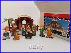 Mary Engelbreit 11 piece Nativity Set The Christmas Pageant Original Box RARE