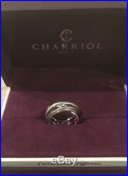 New In Original Box Rare Charriol White Gold & Pave Crossover Ring Size 6