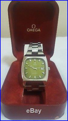 Omega Seamaster Automatic date rare dark green dial original SS band & box, big