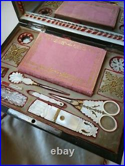 RARE 1820's PALAIS ROYAL SEWING BOX MOTHER OF PEARL Scissors Needle case etc