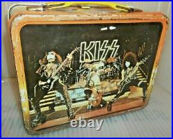 RARE 1977 Kiss Metal Lunch Box By Thermos Brand Rock Music Lunchbox Gene Simmons