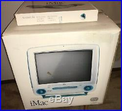 RARE 1999 APPLE iMac G3 400 DV BLUEBERRY COMPLETE in Original BOX TESTED NICE