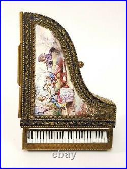 RARE 19C Viennese Enamel Miniature Piano Trinket Box Vienna Austrian