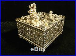 RARE 19th CENTURY DERBY SILVER CO. BULLDOG FIGURAL TOBACCO BOX HUMIDOR
