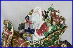 RARE FITZ & FLOYD FLORENTINE CHRISTMAS SANTA SLEIGH COOKIE JAR with ORIGINAL BOX