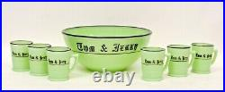 RARE MCKEE JADEITE GLASS TOM & JERRY PUNCH BOWL With SIX GLASSES ORIGINAL BOX