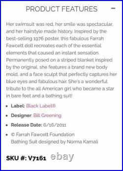 RARE NEW Farrah Fawcett 2011 Black Label Barbie Doll in original box withwarranty