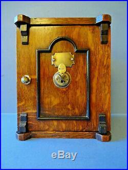 RARE VICTORIAN ANTIQUE SOLID OAK DESK-TOP LETTER SAFE BOX & KEY, c 1876-1880