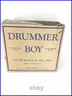 RARE Vintage Marx, Let The Drummer Boy Play, Wind-Up Tin Toy, with Original Box