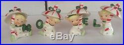 RARE Vintage Napco Christmas NOEL Candy Cane Umbrella Pixie Elves ORIGINAL BOX