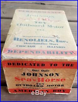 Rare 1920's Johnson Toy Outboard Windup Motor in original box