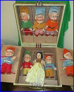 Rare 1937 KNICKERBOCKER SNOW WHITE & THE SEVEN DWARFS in Original Carrying Box