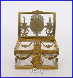 Rare Antique 19th Century French Bronze & Baccarat Crystal Jewerly Casket Box
