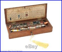 Rare Antique Charles Roberson Mahogany Locking Artists Watercolour Paint Box