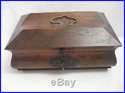 Rare Antique Civil War / Empire Period Jewelry Document Box-Gutta Percha-Burl