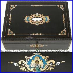 Rare Antique French Vanity & Sewing Box, Many Tools & Jars, Blue & Pink Boulle