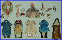 Rare Antique Handpainted French Paper Dolls 1839 Original Box Watercolour