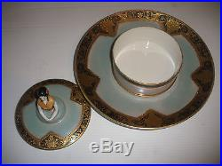 Rare Antique Noritake figural lady chip & dip hand painted box on plate shape