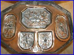 Rare Antique Victorian Handmade Copper, Tin Spices Box With Tray