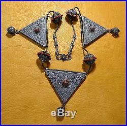 Rare Antique Yemen Bedouin Ethnic Silver Triangle Prayer Boxes Wedding Necklace