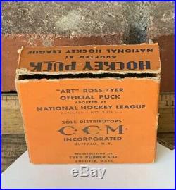 Rare Art Ross Tyer 1942-50 NHL Original 6 Puck Buffalo PAT 2226516 With Box