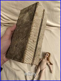 Rare Bisque French Mignonette Bru Face Doll Antique Accessories Presentation Box
